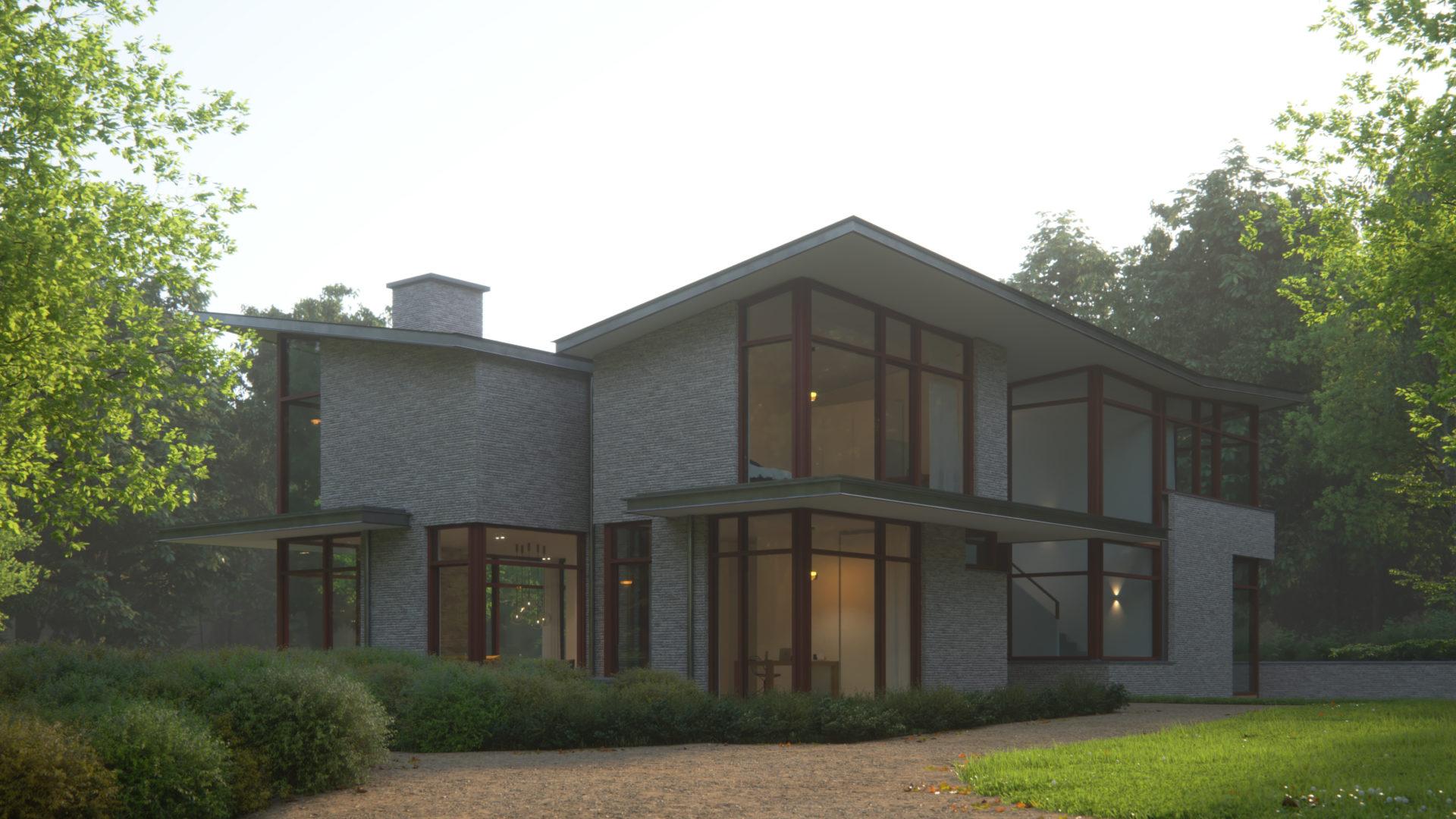 impressie van de voorgevel van de moderne villa in de bossen in nijmegen