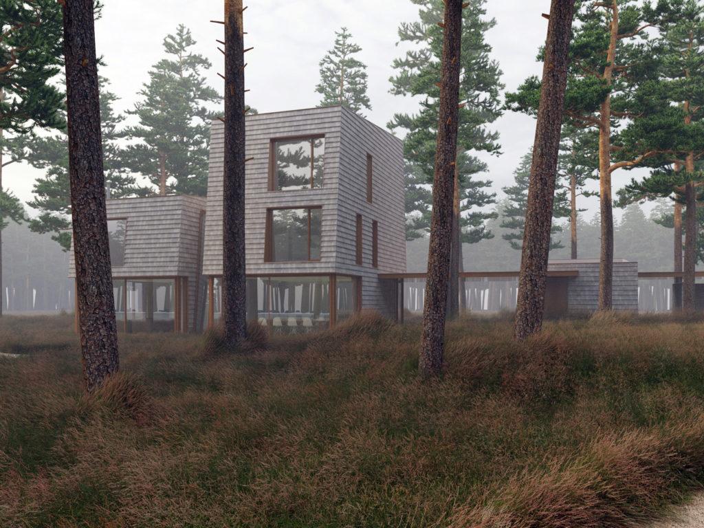 achterzijde moderne villa in de bossen van Zeist