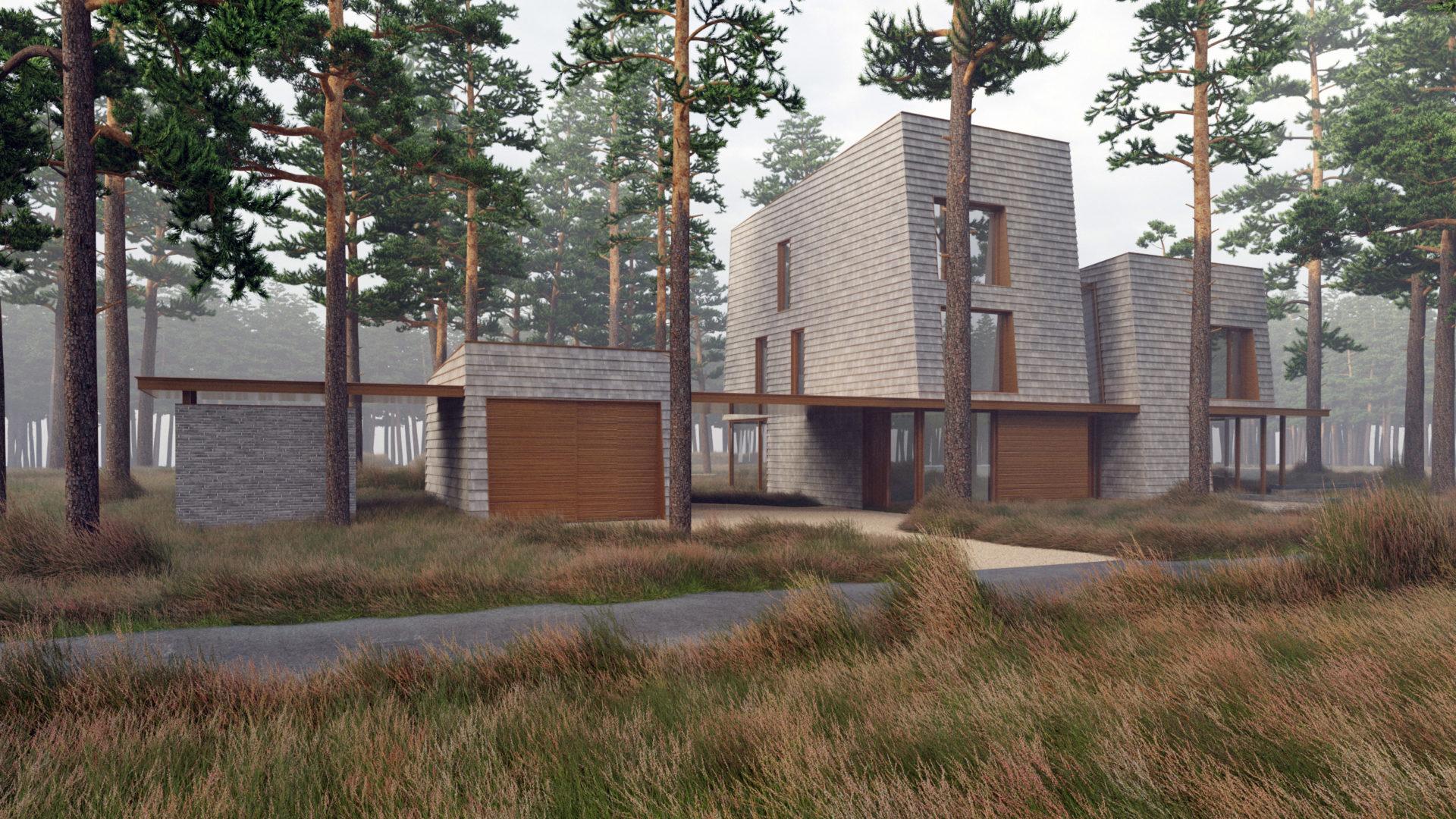 voorzijde moderne villa in de bossen van Zeist