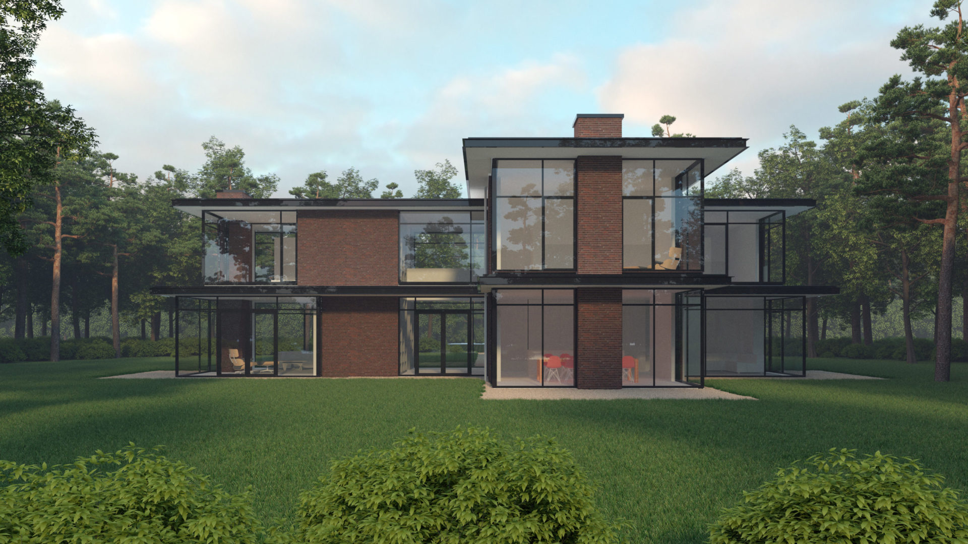 impressie van de moderne villa in hilversum